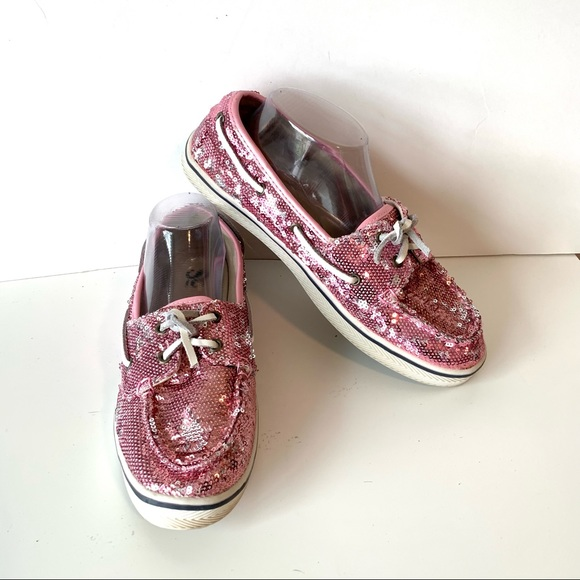 SO Pink Sequin Glitter Boat Slip On Shoes—SZ. 9.5